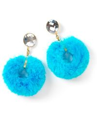 House of Holland - Ss11 Turquoise Marabou Hoop Earring - Lyst