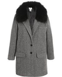 Kule - Herringbone Coat with Detachable Fox Fur Collar - Lyst