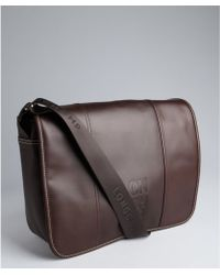 Longchamp - Dark Brown Leather Logo Embossed Crossbody Messenger Bag - Lyst