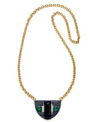 Sandy Hyun Black Leather And Crystal Pendant - Lyst