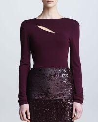 Donna Karan New York  Long Sleeve Slash Top  - Lyst