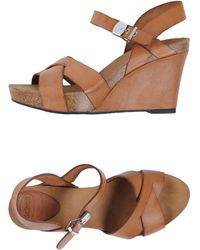 Scholl - Leather Wedge Heel Sandals - Lyst
