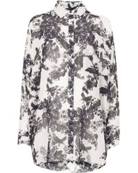 Topshop Crinkle Floral Shirt - Lyst