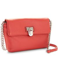 Calvin Klein Pebbled Leather Crossbody Bag In Red Miami