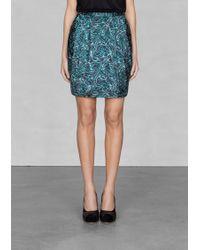 & Other Stories Willow Print Silk Skirt - Blue