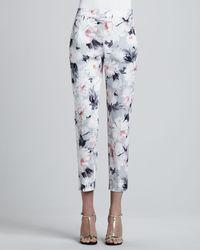 St. John Collection Petite Dahlia Print Stretch Cotton Sateen Side Zip Cropped Emma Pants - Lyst