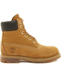"""Timberland 6"""" Premium Lace Up Beige Flat Boots - Lyst"""
