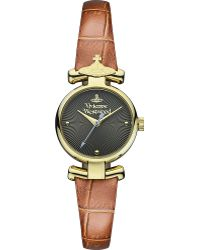 Vivienne Westwood Vv090Gdbr Pvd Gold-Plated Metal And Leather Watch - Lyst