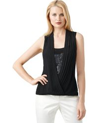 Adrianna Papell Sequined Pleated Surplice Blouse - Lyst