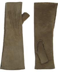 Barneys New York Long Fingerless Suede Gloves - Lyst