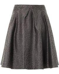 Freda Mae Leopard-Jacquard Skirt - Gray