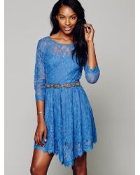 Free People Floral Mesh Lace Dress - Lyst