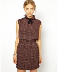 Ganni Ruffle Neck Sleeveless Dress in Tie Print - Brown