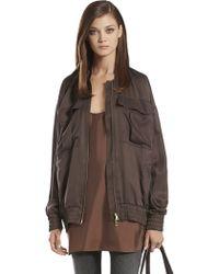 Gucci Silk Twill Blouson Coat - Brown