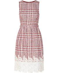 Oscar de la Renta Guipure Lace-Trimmed Tweed Dress - Lyst