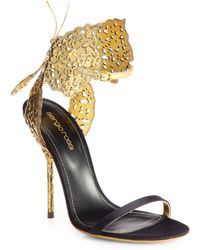 Sergio Rossi Filigree Butterfly Laser Cut Leather  Satin Sandals - Lyst