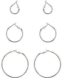 Topshop Fine Hoop Earring Multipack silver - Lyst