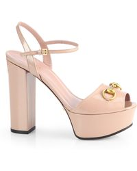 Gucci Claudie Patent Leather Platform Sandals - Pink