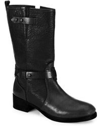 Tory Burch Kullman Pebbled Leather Midcalf Boots - Black