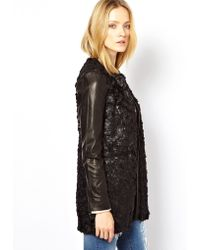 Joe's Jeans - Textured Coat With Leather Sleeves - Lyst
