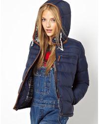 Love Bellfield Padded Jacket with Fairisle Hood - Blue
