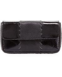 Bottega Veneta Snakeskin Trifold Envelope Clutch Bag Black - Lyst