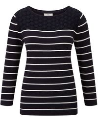 Cc Navy Lace Panel Stripe Jumper - Lyst