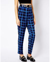 Fred Perry - River Island High Waisted Check Peg Pants - Lyst