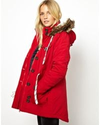 Fred Perry Bellfield Parka Jacket with Faux Fur Trim Hood - Red