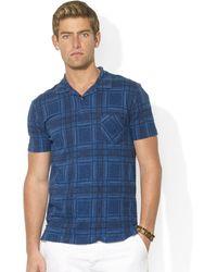Ralph Lauren Plaid Jersey Pocket Polo - Lyst