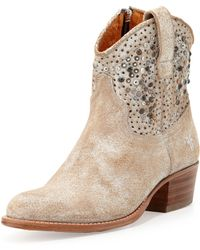 Frye Deborah Studded Short Boot - White