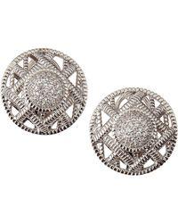 Judith Ripka - Basket-Weave Pave Circle Earrings - Lyst