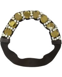 Marni - Crystal And Leather-Embellished Grosgrain Headband - Lyst