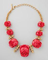 Oscar de la Renta Resin Rose Necklace Amaranth - Lyst