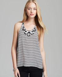 Madison Marcus Embellished Striped Tank Illuminate - White