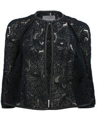 Monique Lhuillier - Guipure Lace Leather Trim Jacket - Lyst