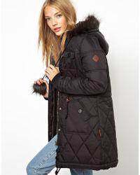 Bellfield - Longline Padded Coat with Pom Poms - Lyst
