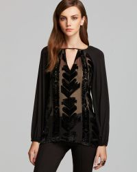 Plenty by Tracy Reese -  Contrast Peasant Blouse - Lyst