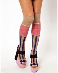 Eley Kishimoto - Stripe Floral Over The Knee Socks - Lyst