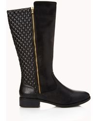 Forever 21 Iconic Quilted Boots - Black