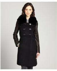 Elie Tahari Black Wool Madison Fox Fur Collar Coat - Lyst