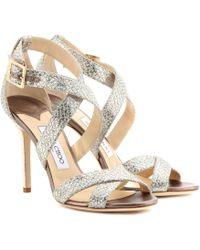 Jimmy Choo Lottie Glitter Sandals - Lyst