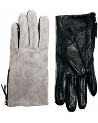 Boutique Moschino Warehouse Suede Colour Block Gloves - Gray