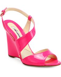 Brian Atwood | Anabel Patent Leather Wedge Sandals | Lyst