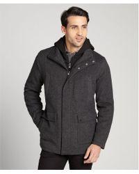 Calvin Klein Medium Grey Zip Up Removable Hood Wool Coat - Lyst