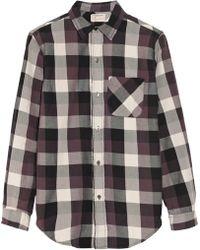 Current/Elliott The Prep School Plaid Cotton Shirt - Purple
