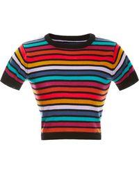 Cynthia Rowley - Multi Stripe Short Sleeve Sweater - Lyst