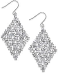 Lauren by Ralph Lauren - Silvertone Crystal Diamond Drop Earrings - Lyst