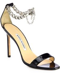 Manolo Blahnik Chaos Patent Leather Ankle-Chain Sandals - Lyst