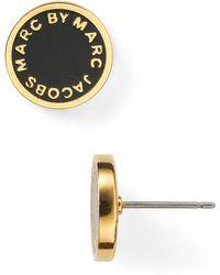 Marc By Marc Jacobs Enamel Logo Disc Stud Earrings black - Lyst